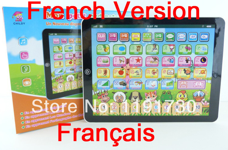 French children's educational learning machine Educational tablet children laptop computer learning machine toys kid(China (Mainland))