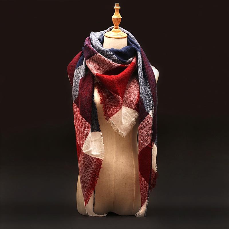 Za Winter Scarf 2016 Tartan Plaid Cashmere Scarf Pashmina New Designer Blanket Scarf Luxury Brand Women's Scarves and Wraps(China (Mainland))