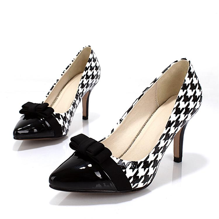 black and white color block decoration houndstooth genuine