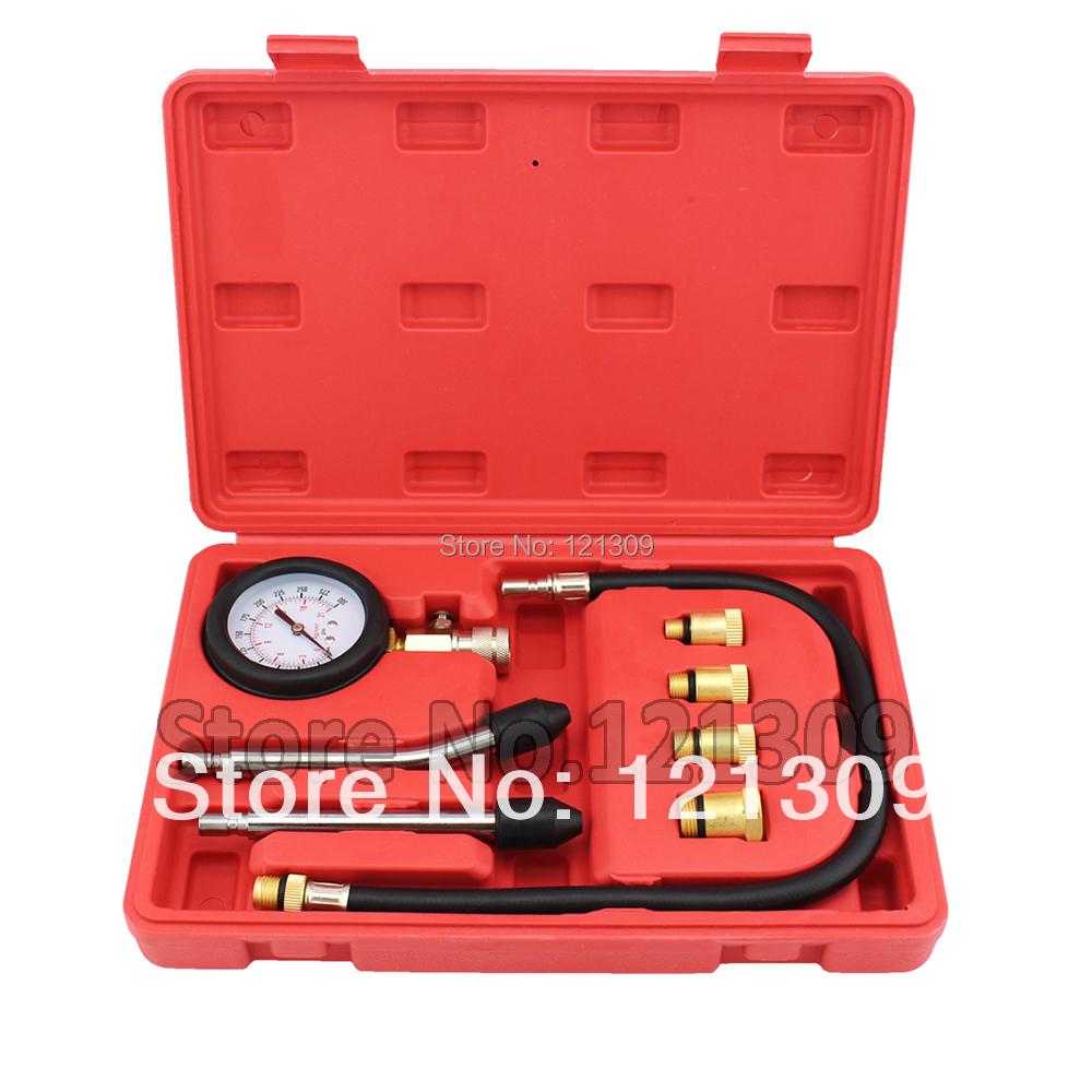 New Petrol Engine Cylinder Compressor Gauge Meter Test Pressure Compression Tester Leakage Diagnostic/ Diagnosis Tool Set(China (Mainland))