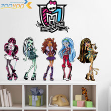 monster high popular cartoon wall stickers for kids room zooyoo1416 bedroom adesivo de parede art pvc wall decal home decoration(China (Mainland))