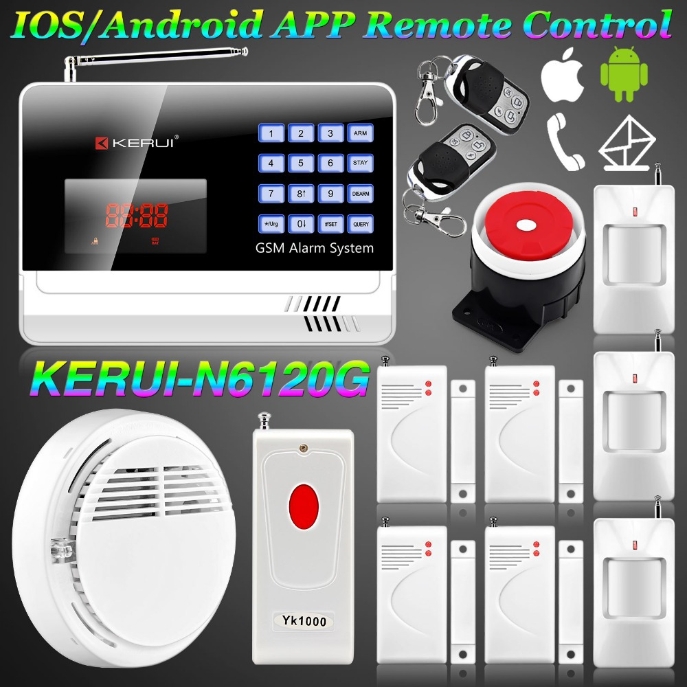 KERUI GSM Alarm Burglar IOS/Android APP Controlled Wireless Alarm Systems Security Home Wireless Smoke Detector+ Panic Button<br><br>Aliexpress