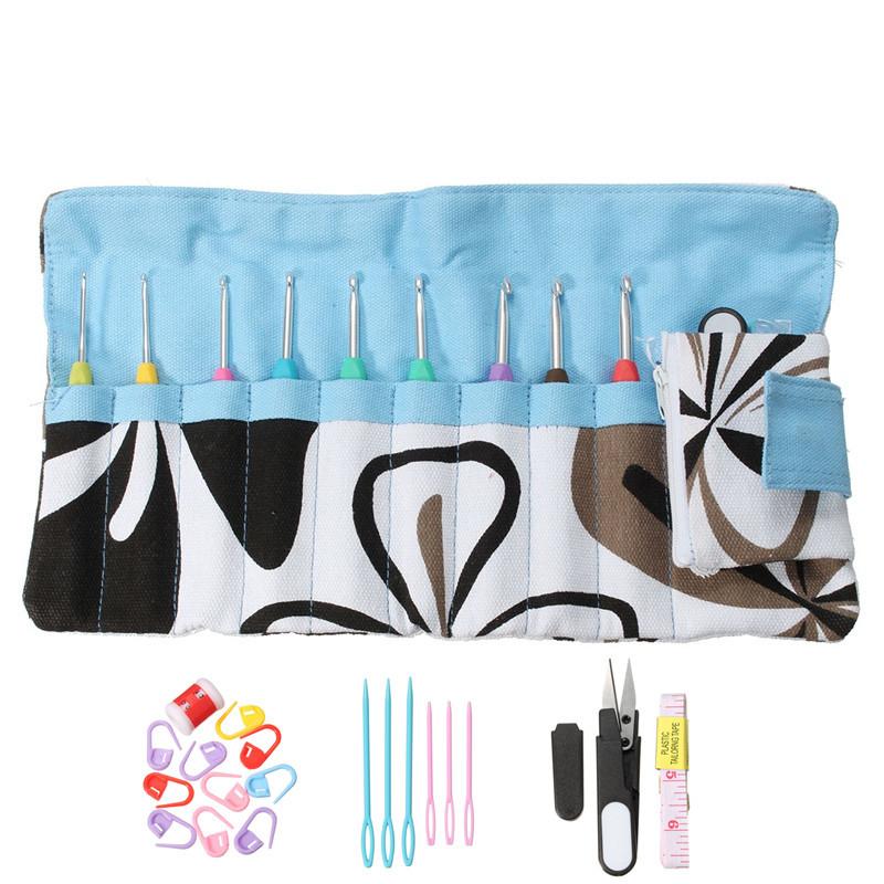 Practical 28Pcs/Set Mixed Metal Hook Crochet Kit with Storage Bag Aluminum Knitting Needles Crochet Markers Loom Tool DIY Crafts(China (Mainland))