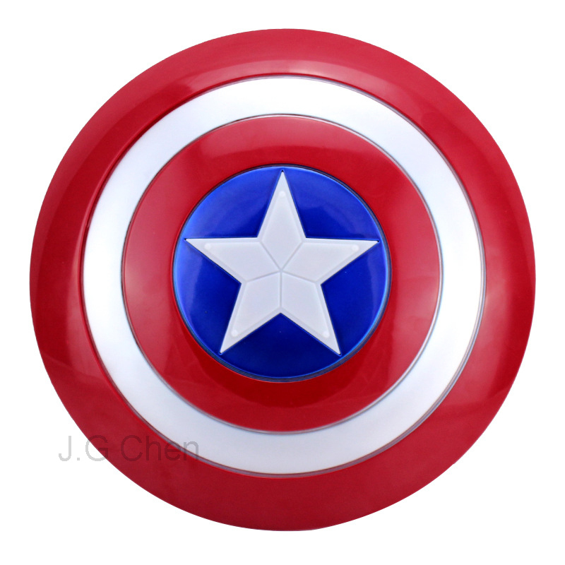 J G Chen The Avengers Captain 32CM America Shield Light-Emitting & Sound Cosplay property Toy Metallic shield  Red/Blue(China (Mainland))
