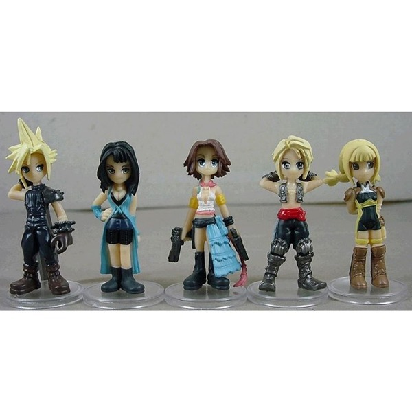 FREE SHIPPING Anime Cartoon 5x Final Fantasy Cloud Strife/YUNA/Rinoa Heartilly 4cm-6cm PVC Figure Toys Set No Box & In Box(China (Mainland))