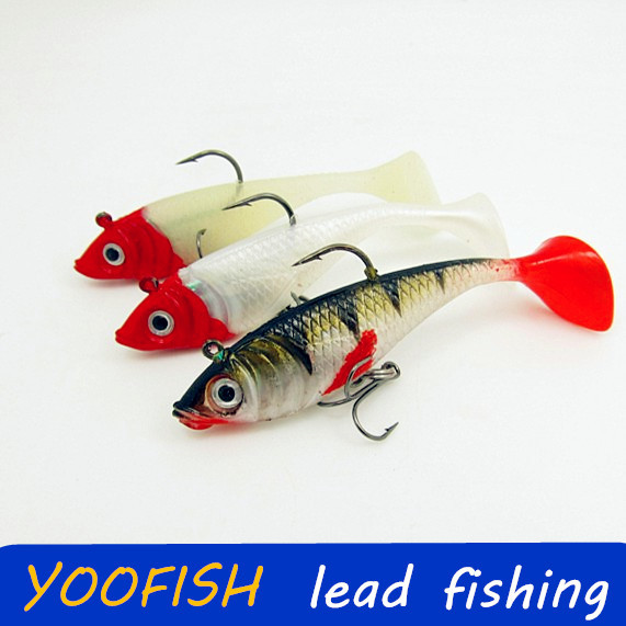 30pcs 11g 9cm Fishing lures sea fishing tackle soft bait luminous lead fishing artificial bait jig wobblers rubber silicon lure<br><br>Aliexpress