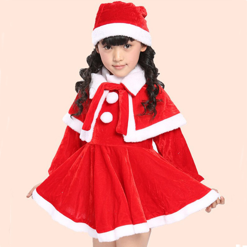 Baby dress and hat set santa style hat dress and cappa set - Trajes para navidad ninos ...