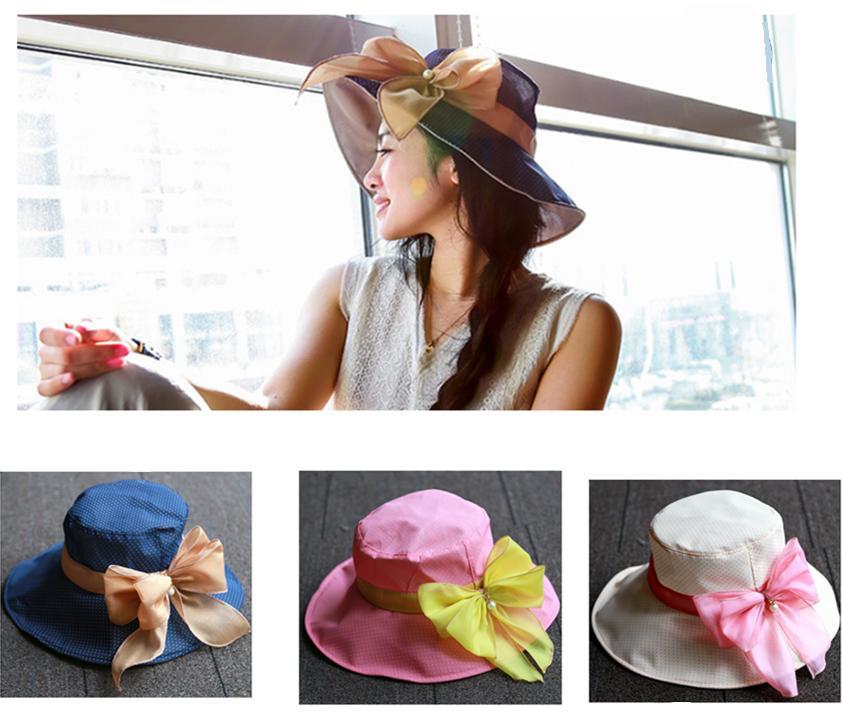 New Women Summer Hat Large Brim Sun Hat Vintage Lady Floppy Caps Bow Beach Hat Women Lady Cap 5 Colors(China (Mainland))