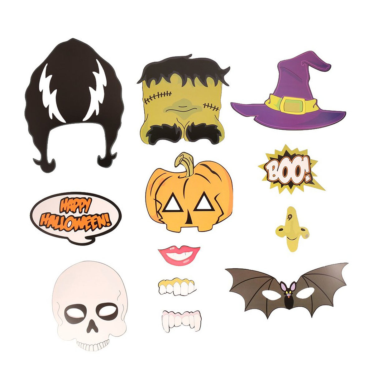 12pcs Happy Halloween Photo Booth Props Skull Witch Hat Pumpkin Bat Butterfly Fancy Party Decor(China (Mainland))