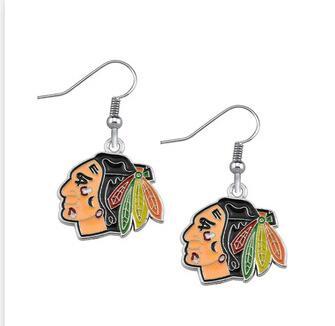 10pair women fashon jewelry Hockey Team Chicago Black Hawk title logo drop Enamel diy earring Sports fan zinc alloy Earrings(China (Mainland))
