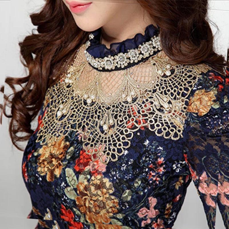 2016 Blouses & Shirts women korean fashion clothing vetement femme summer tops roupas chiffon full lace feminina blouses tumblr(China (Mainland))