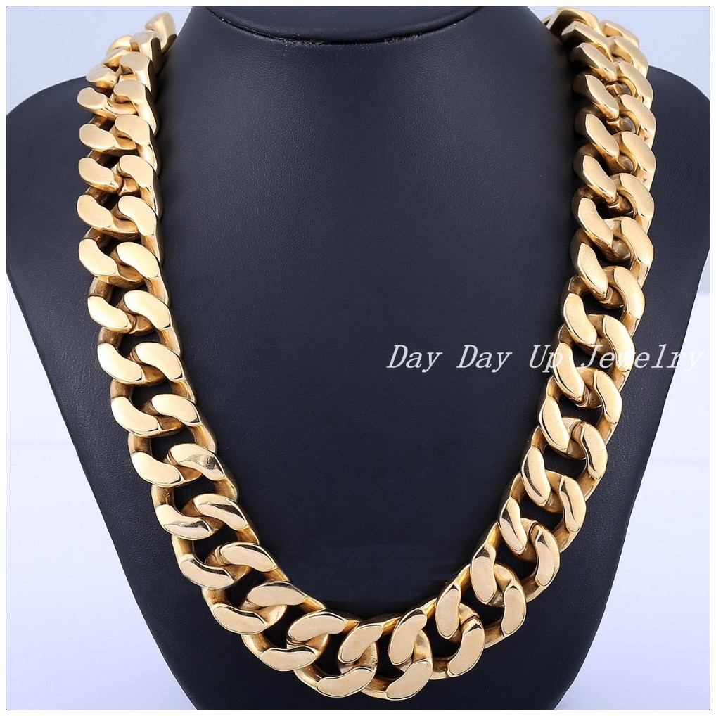 Huge Heavy Cool Bling 316L Stainless Steel Silver Gold Curb Cuban Chain Tone Mens Necklace Fashion Jewelry 28*20mm New Jewelry<br><br>Aliexpress