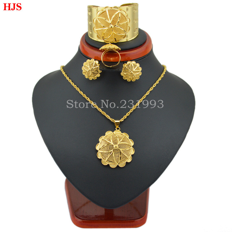 New Ethiopian Jewelry 22k Gold Plated Pendant Chain/Earring/Ring/Big Bangle African Bridal Habesha Wedding sets Women Ethiopian<br><br>Aliexpress