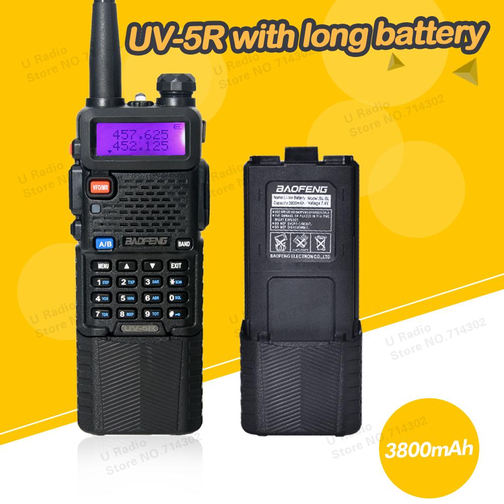 BAOFENG UV-5R 136-174 / 400-520 Mhz Dual Band Walkie talkie with 3800 mAh li-ion battery Two Way Radio(China (Mainland))