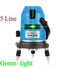 Envío gratis exterior 5 línea 4V1H Borka verde laser cross line autonivelante 360 línea de rotary láser cinta métrica piso nivel láser