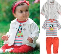 Free shipment girl's clothing suit for spring&autumn outerwear+owl striped T+ red pant retail