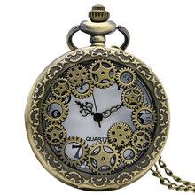 2015 Retro Design Hollow Gear Fob Watch Vintage Bronze Pocket Watch Necklace Chain Pendant Men's Women Relogio De Bilso(China (Mainland))