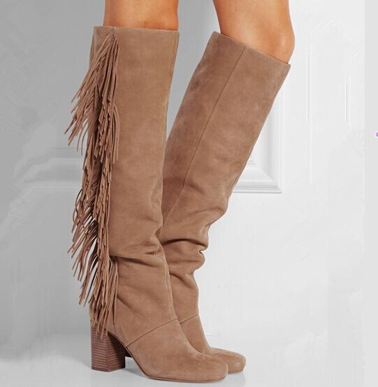 2015 новое поступление мода кисточка бахрома колен-высокие ботинки женщин шипами острым носом квадратных высокие каблуки туфли женщина туфли-botas