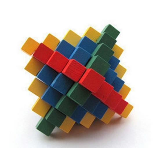 Brain Teaser Toy Intelligent China Kongming Lock Multicolor Pineapple Ball Magic Wood Jigsaw Puzzle 8.5*8.5*8.5cm(China (Mainland))