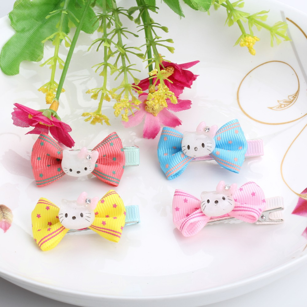 New Arrival 1 lot=2 Pcs Hello Kitty Bowknot Baby Hairpins 5 colors Hair Clip Hair Accessories ribbon dot Bow Girls Hair ClipОдежда и ак�е��уары<br><br><br>Aliexpress