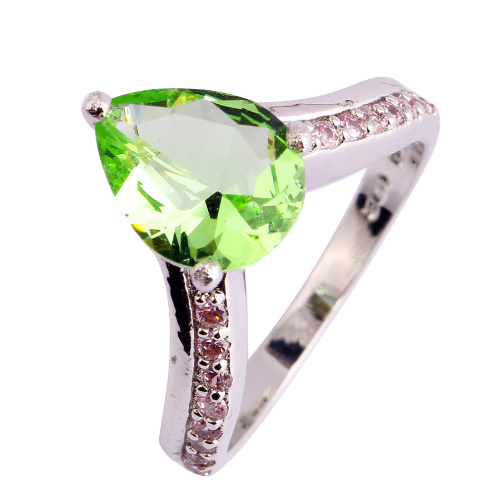 Classic Fashion Women Jewelry Water Drop Green Amethyst Silver Ring Size 6 7 8 9 10  -  WEILING Co.,Ltd 2014 store