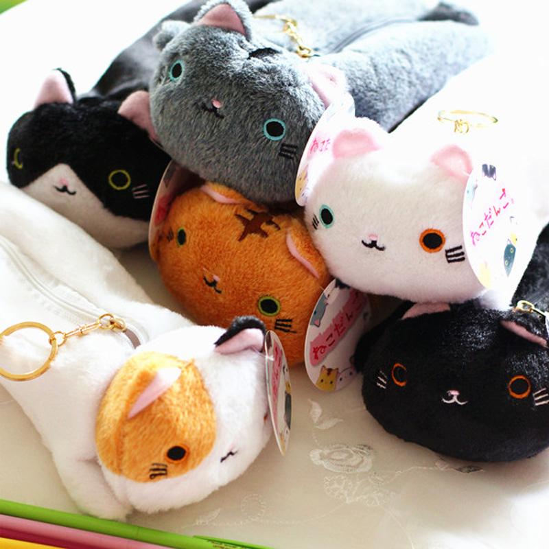6pcs Kutusita Nyanko big face cat plush pencil bag soft plush & stuffed pencil bag super cute toy(China (Mainland))