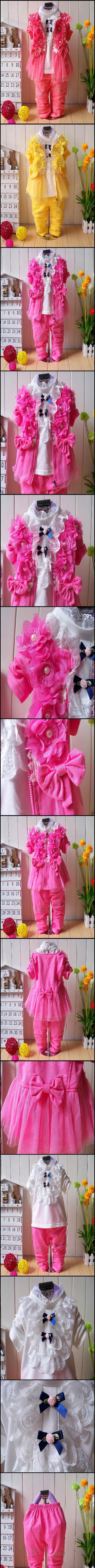 Скидки на 3 Pcs Brand New Baby Girl Dress Summer Style Girl Lace Dress 2015 Fashion Kids Clothes Long Sleeve Girl Dress Top+Pant+Vest