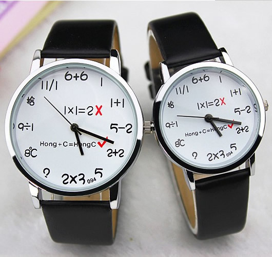 free shipping interesting aspects Students' Personality Belt Fashion Digital Couple Of Watch faux leather summer style HGW0019(China (Mainland))