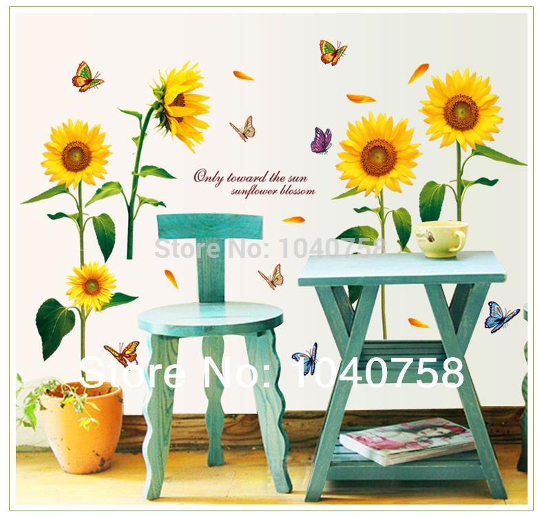Large Paper Flowers Wall Stickers Butterfly Decoration on a Wall Decals Quotes for Living Room Home Decor Wallpaper Kids Posters(China (Mainland))