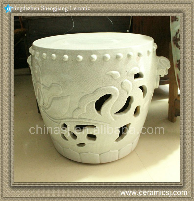 """RYWC03 18"""" Hand Carved Crackle Ceramic furniture Asian Stool(China (Mainland))"""