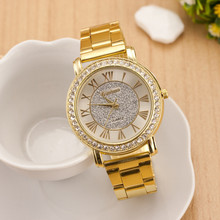 New arrival Men Wristwatches Retro Gold Plated Crystal Business Casual Alloy Analog Quartz Watch Dress Watches