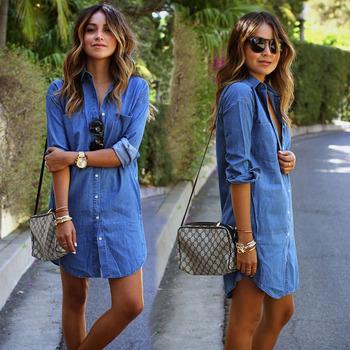 Autumn style 2015 new fashion women denim dress casual long sleeved loose dresses plus size vestidos free shipping