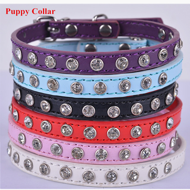 Personalized Puppy Dog-Collar 6 Colors Pu Leather Collars For Dogs Rhinestones Accessories Collar Pet Dog Health Supplies