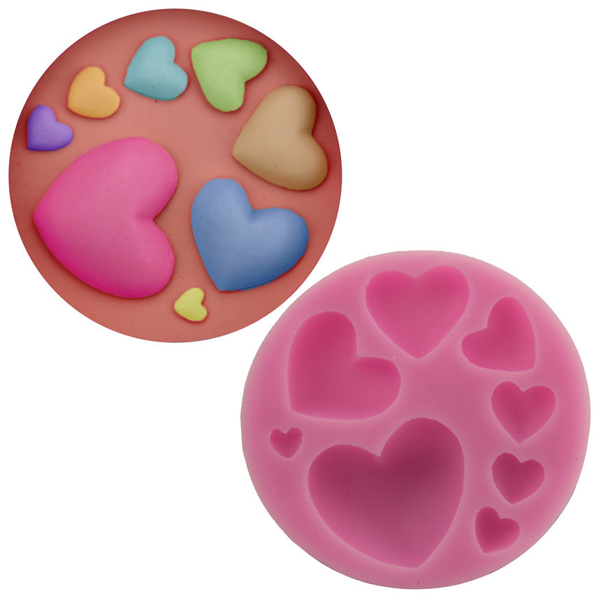 2016 newest hot sale wedding cake shaped sugar craft tools fondant form 8 different love heart silicone mold(China (Mainland))