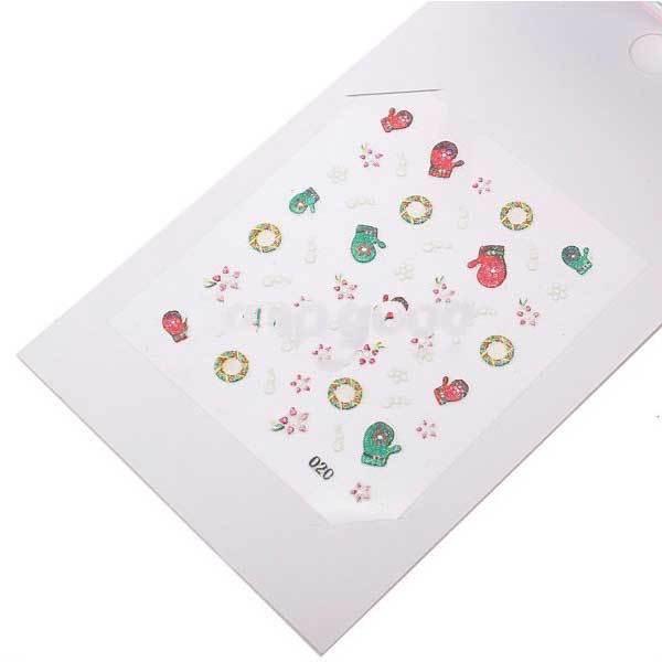 Fairbanks 5pcs Xmas Christmas 3D Nail Art Stickers Foil Tips Decals Wrap Gift(China (Mainland))