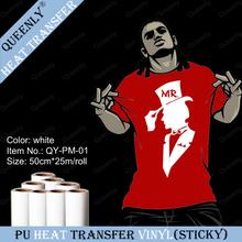 Sticky back white PU heat transfer vinyl sticky PU vinyl roll for clothing 50cm*25m/roll(China (Mainland))