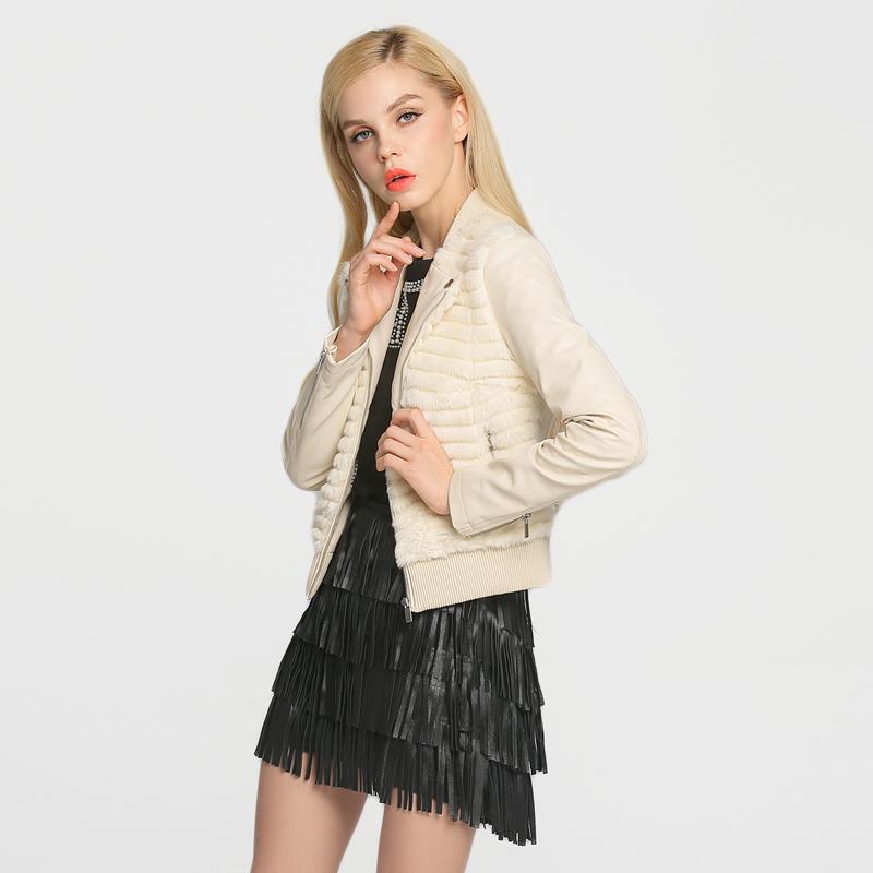 Designer Brand 2016 New Women Faux Leather Faux Fur Jacket Beige Black 14H4010