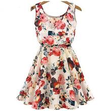 Krátké letní dámské šaty se vzorem růže z Aliexpress