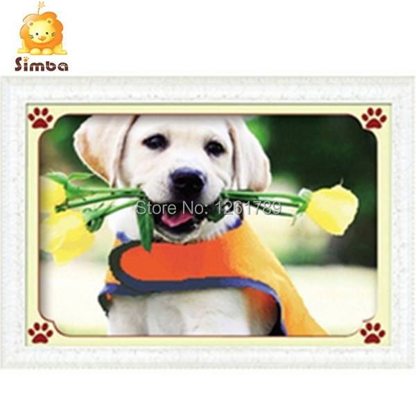 Needlework,DIY DMC 3D Cross stitch,Sets For Embroidery kits,pretty dog with rose Pattern Counted Cross-Stitching,Wall Home Decro(China (Mainland))