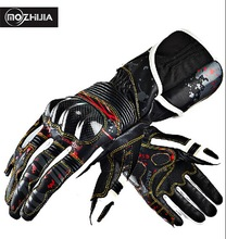 2016 New genuine mozhijia carbon fiber and leather motorcycle gloves motorbike Knight Moto racing glove size M L XL XXL