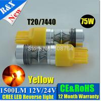 2pcs  New T20 7440 7443 W21W  LED lamp car CREE 75W Amber color Reverse Backup bulbs 360 lighting Car Light 10V-30V