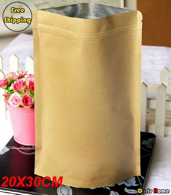 Free Shipping Kraft Paper Self-Stand Self-Sealing Food Packaging Bags,20*30+5cm,50pcs/lot(China (Mainland))