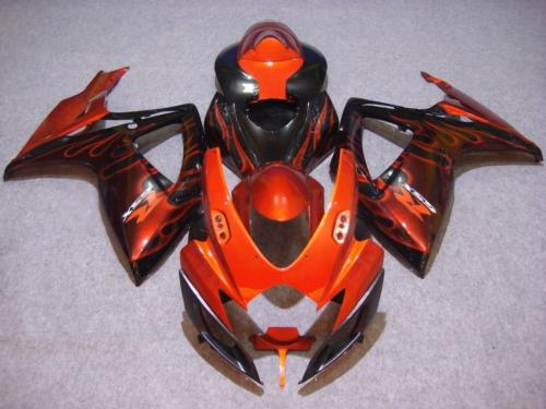 Motorcycle Fairing kit SUZUKI GSXR600 750 K6 06 07 GSXR 600 GSXR 750 2006 2007 ABS Red flames black Fairings set+7gifts SC46