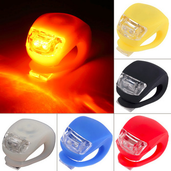 1 pc Wholesale Silicone Bike Light Bicycle Cycling Head Front Rear Wheel LED Flash Light Lamp free shipping Hot Selling