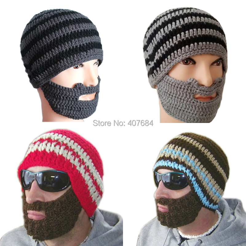 Hot Free shipping 2015 Creative Beard Novelty Handmade Knitting Wool Funny Octopus Hat Christmas Party hand-knitted unisex Gift(China (Mainland))