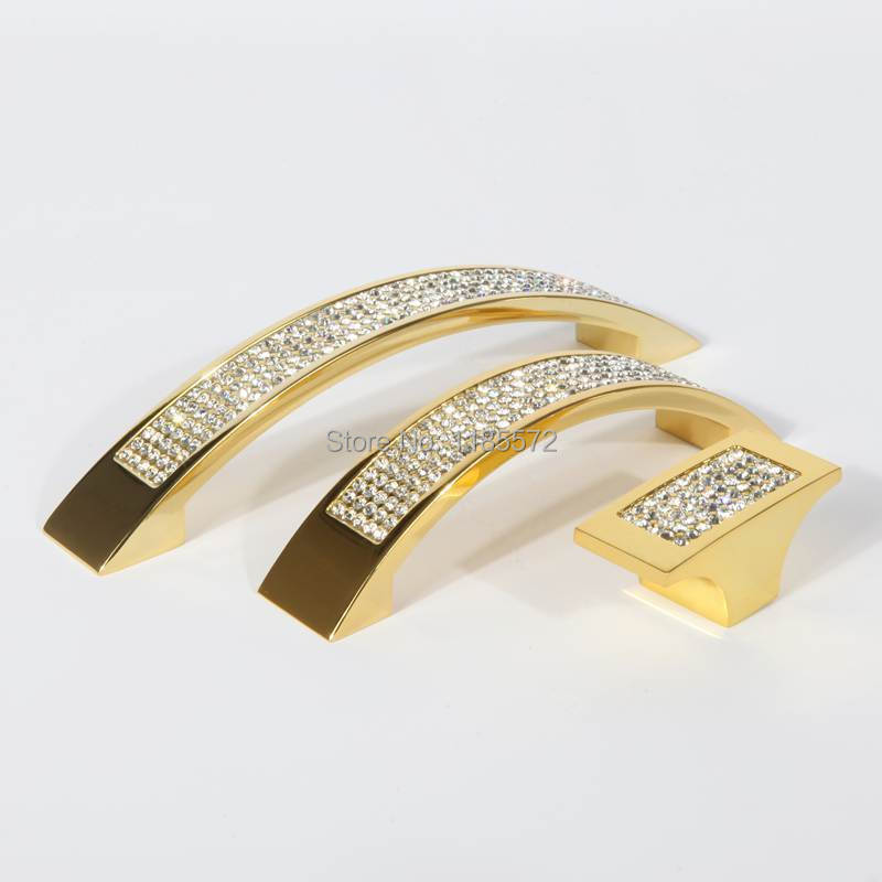 96mm Zinc alloy Top quality golden furniture cabinet drawer handle pulls with crystal bright decorating(China (Mainland))