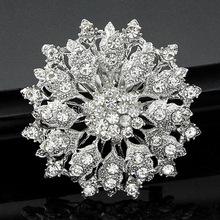 Stern Schmuck Glänzende Schöne Silber Klar Strass Kristall Kleine Blume Strass Brosche Blumenstrauß für hochzeit frauen pins(China (Mainland))