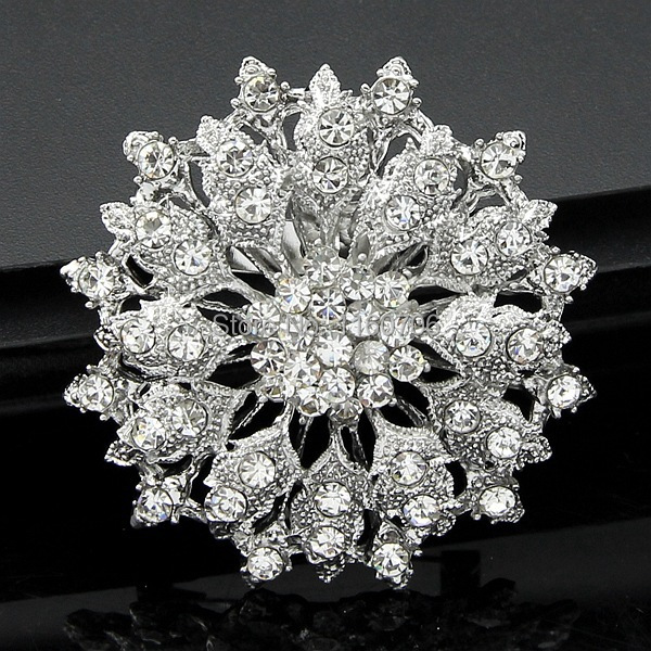 Star Jewelry Shining Beautiful Silver Clear Rhinestone Crystal Small Flower Rhinestone Brooch Bouquet for wedding women pins(China (Mainland))