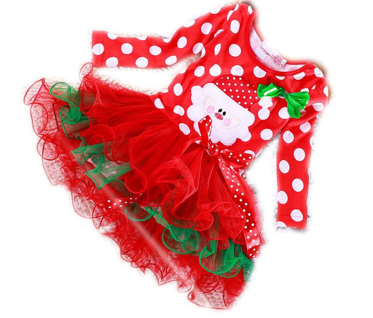 Girl clothing Christmas fashion cartoon style baby girls lace kids clothes children cotton baby tutu princess dress ws022(China (Mainland))