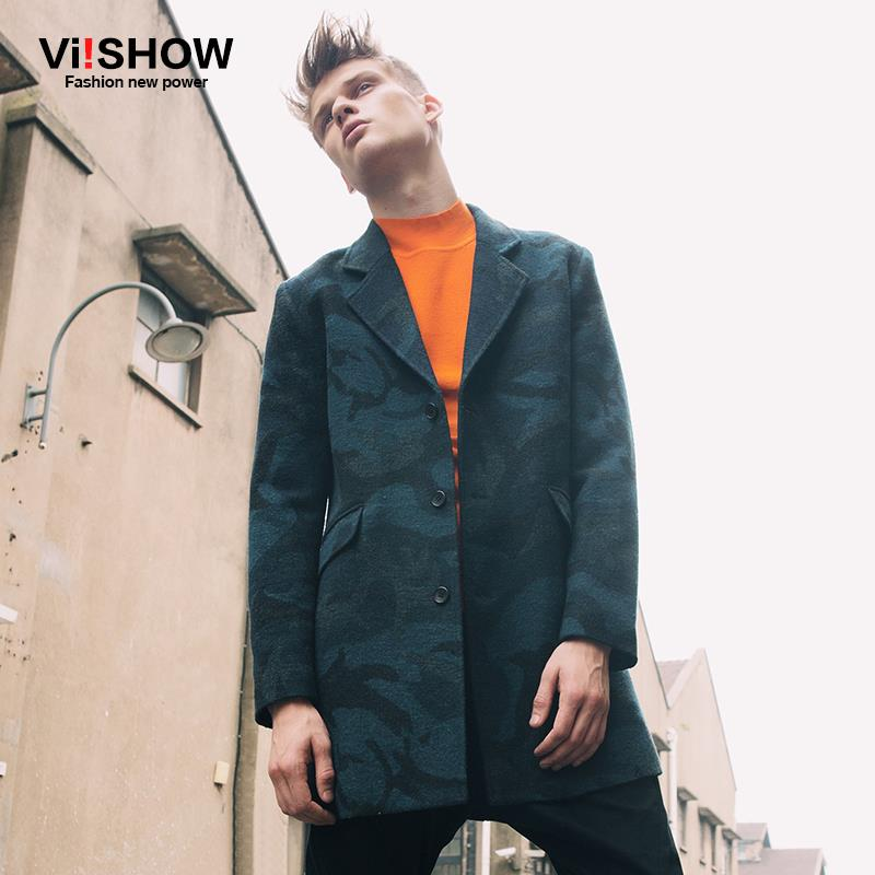 Viishow Long Trench Coat Casual Slim Fit Jacket Mens Camouflage Trench Overcoat Pea Coats for Men M-XXL F102853(China (Mainland))